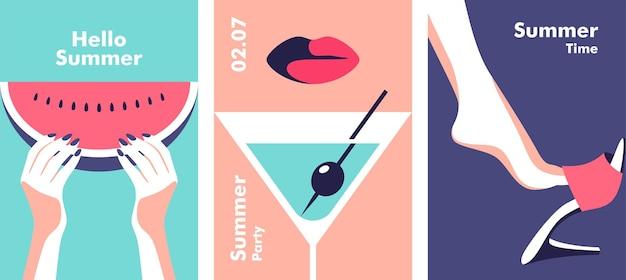 Conceito de viagens e férias de festa de verão ilustração vetorial em estilo minimalista