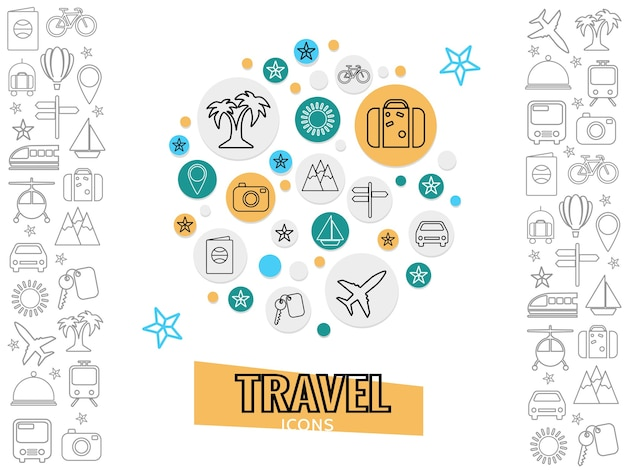 Conceito de viagens e transporte com palmeira bagagem bicicleta ônibus avião barco câmera chave carro