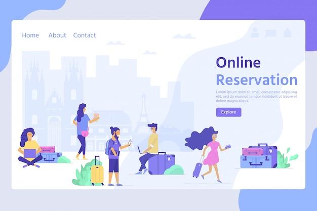 Conceito de viagens e turismo para o modelo de site, reserva de reserva on-line, página inicial