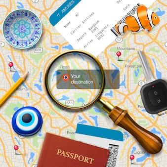 Conceito de viagens ilustração de navegação você está aqui