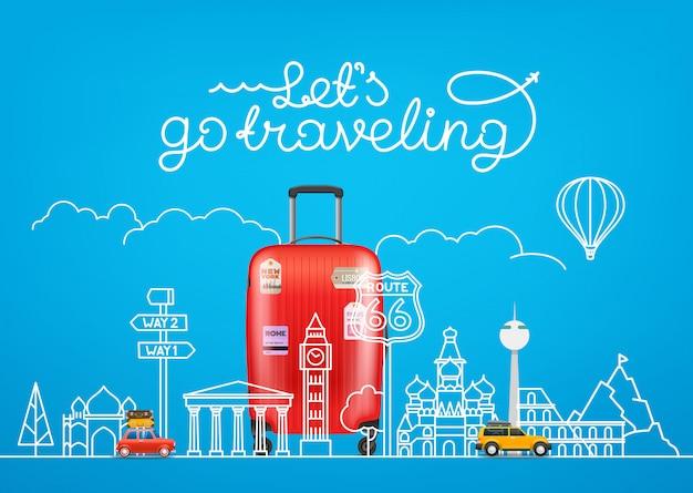 Conceito de viagens. ilustração vetorial com vistas famosas e acessórios