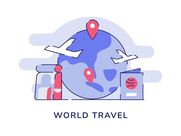 Conceito de viagens mundiais, avião, ponteiro voador, localização, terra, mochila, passaporte, branco, isolado, fundo