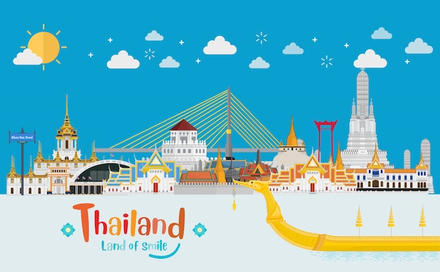 Conceito de viagens tailândia. o golden palace para visitar na tailândia em estilo plano e dia ensolarado
