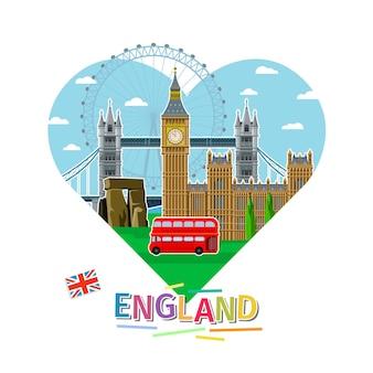 Conceito de viajar ou estudar inglês. bandeira inglesa com marcos em forma de coração. design plano, ilustração vetorial