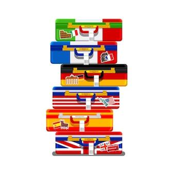 Conceito de viajar ou estudar línguas.