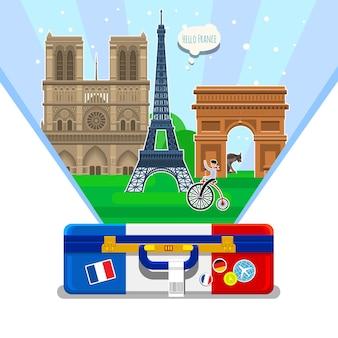 Conceito de viajar para a frança ou estudar a bandeira da frança francesa com pontos de referência em uma mala aberta. ilustração em vetor design plano