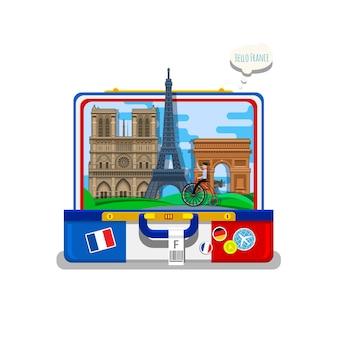 Conceito de viajar para a frança ou estudar francês. bandeira da frança com marcos em mala aberta