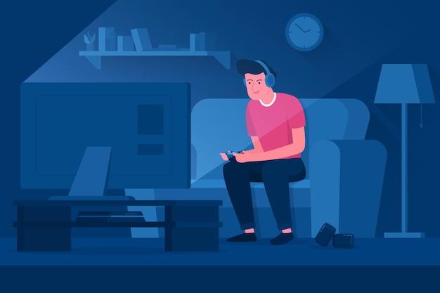 Conceito de vício de jogos online com homem jogando