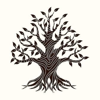 Conceito de vida em árvore desenhada à mão