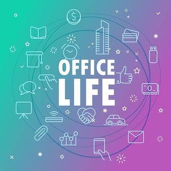 Conceito de vida no escritório. diferentes ícones de linha fina incluídos