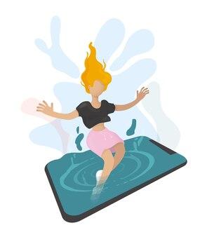 Conceito de vida social de dependência de dispositivos móveis ilustração vetorial estilo planoa garota afunda no telefone