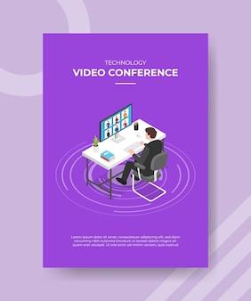 Conceito de videoconferência de tecnologia