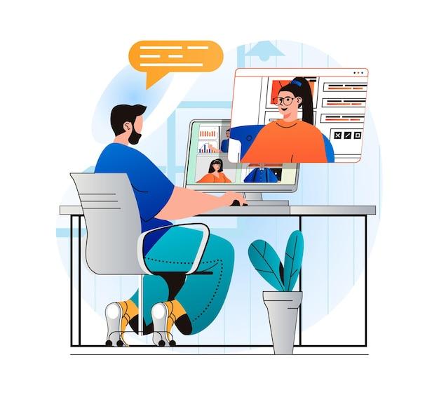 Conceito de videoconferência em design moderno e plano. o homem se comunica remotamente com a mulher usando o vídeo