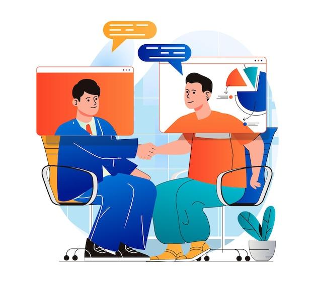 Conceito de videoconferência em design plano moderno. homens se comunicam remotamente usando videochamada na tela