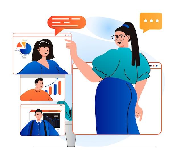 Conceito de videoconferência em design plano moderno mulher ouve relatos de colegas remotamente