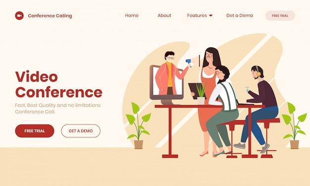 Conceito de videoconferência on-line
