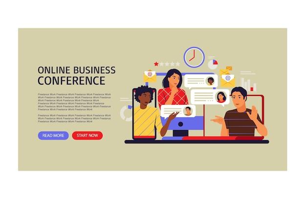 Conceito de videoconferência online. página de destino. ilustração vetorial. plano.