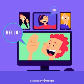 Conceito de videoconferência para a página de destino