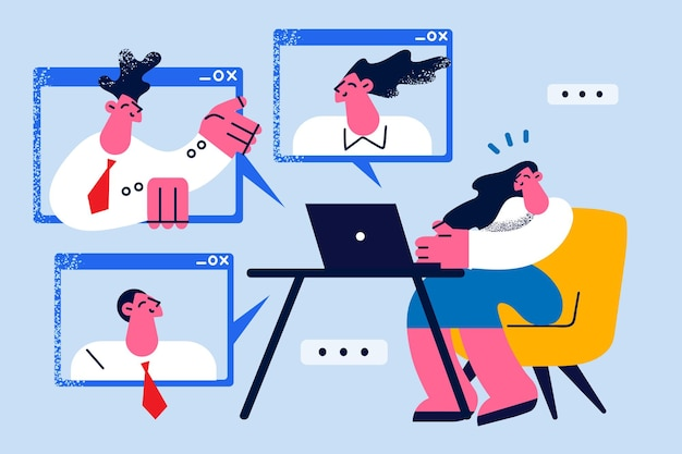 Conceito de videoconferência remota online