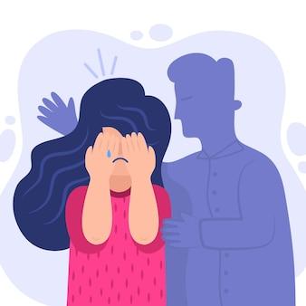Conceito de violência de gênero ilustrado com mulher chorando