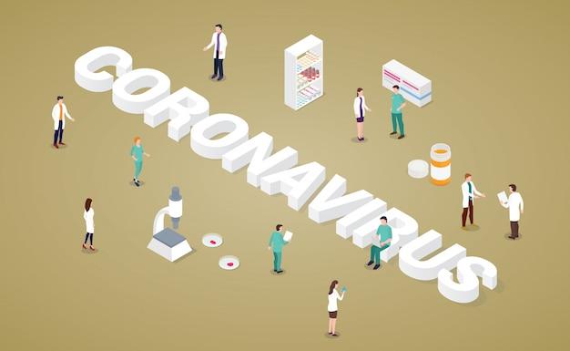 Conceito de vírus corona com grande palavra e análise de equipe médica com drogas e vacina de saúde com estilo isométrico moderno