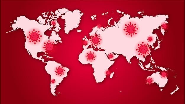Conceito de vírus pandêmico de coronavírus covid19 na infecção do mapa mundial