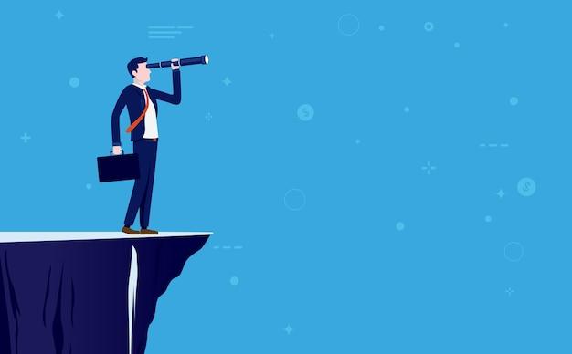 Conceito de visão de negócios com empresário olhando com binóculos
