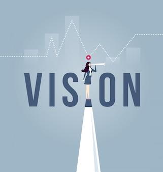 Conceito de visão no negócio com o ícone de empresária e telescópio.