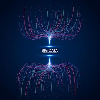 Conceito de visualização de big data. abstrato base futurista e tecnologia. composição de ondas musicais.