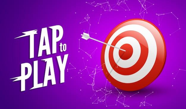 Conceito de vitória de destino do esporte. símbolo de sucesso empresarial. jogue design de ilustração de jogo de dardos.