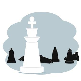 Conceito de vitória e conquista. ilustração em vetor de peças de xadrez rei e peões