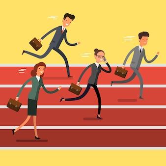 Conceito de vitória. empresários dos desenhos animados correndo para a linha de chegada. competição de líder de equipe. design plano, ilustração vetorial.