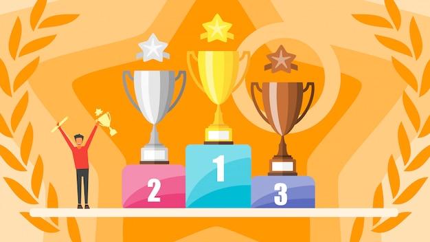 Conceito de vitória. povos minúsculos que prendem o prêmio do troféu do ouro. taças de ouro, prata e bronze no pódio