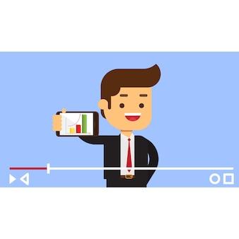 Conceito de vlogger de negócios