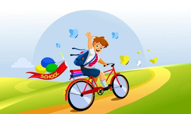 Conceito de volta às aulas garotinho com bicicleta
