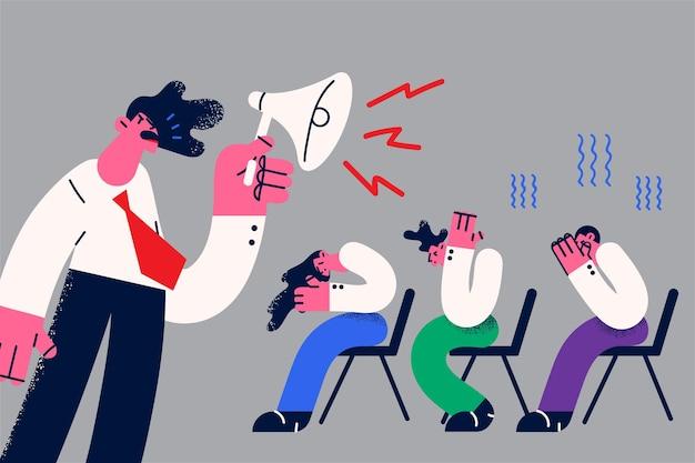 Conceito de volume, alto-falante e gritos. chefe de jovem empresário furioso gritando com alto-falante de megafone para ilustração vetorial de colegas de trabalho