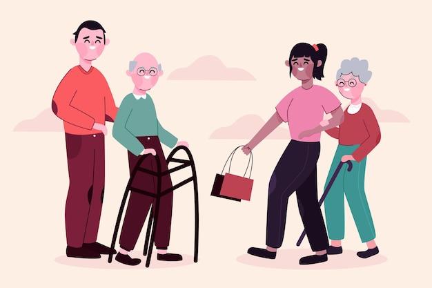 Conceito de voluntariado para jovens e idosos