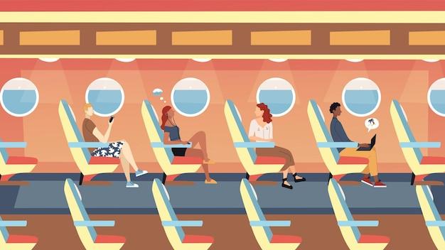 Conceito de voos internacionais de passageiros. personagens masculinos e femininos, sentados no avião e voando nas férias. interior moderno da placa do avião com as pessoas. estilo simples dos desenhos animados. ilustração vetorial.