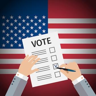 Conceito de votação com as mãos escolhendo um voto