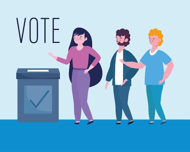 Conceito de votação e eleição, homem e mulher ficam na fila para votar