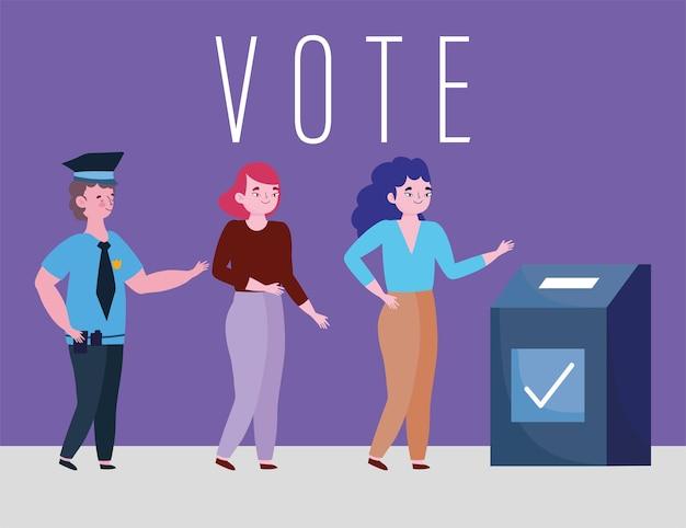 Conceito de votação e eleição, jovens mulheres votando e escolhendo candidatos