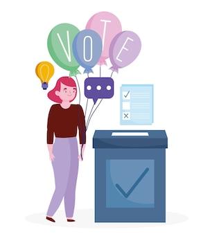 Conceito de votação e eleição, mulher com palavra voto em balões e cédula com caixa