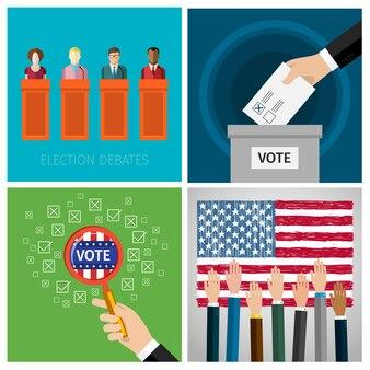 Conceito de votação. eleição presidencial dos eua 2016. design plano, ilustração vetorial