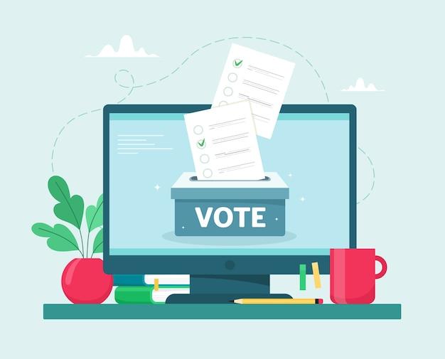 Conceito de votação online. caixa de lotação em um monitor de computador. .
