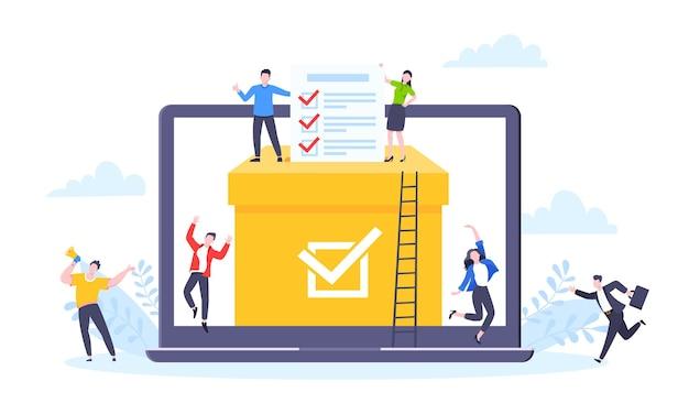 Conceito de votação online estilo simples design ilustração vetorial pessoas minúsculas com pesquisa de votação online