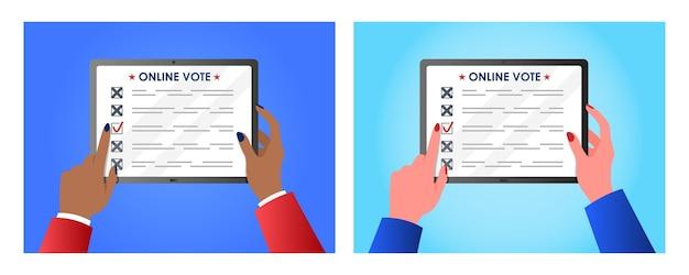 Conceito de votação online para web design mãos de mulher segurando um tablet