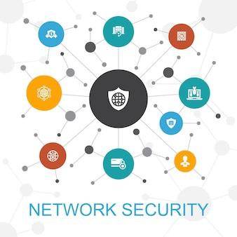 Conceito de web da moda de segurança de rede com ícones. contém ícones como rede privada, privacidade online, sistema de backup, proteção de dados