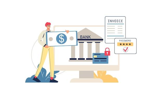 Conceito de web de banco on-line. o homem usa conta financeira online, faz pagamentos seguros, armazena economias em seu perfil do computador, cena mínima de pessoas. ilustração vetorial em design plano para site