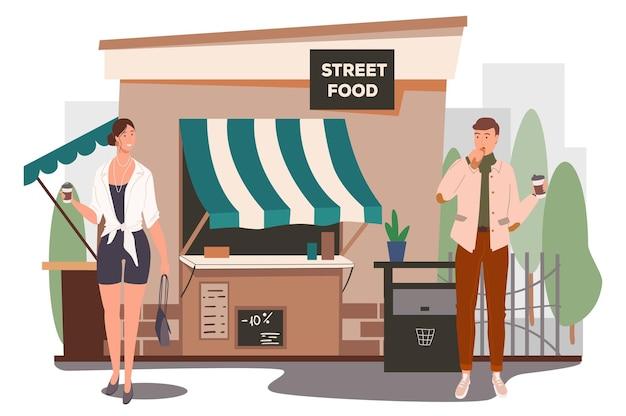 Conceito de web de construção de loja de comida de rua. homem e mulher tomando café da manhã, tomando café no café de rua. clientes na cafeteria