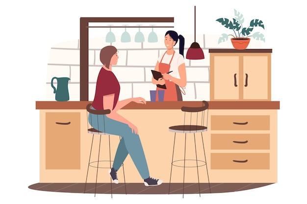 Conceito de web de cozinha de café ou café. mulher sentada no banco do bar atrás do balcão, barista anotando o pedido do cliente
